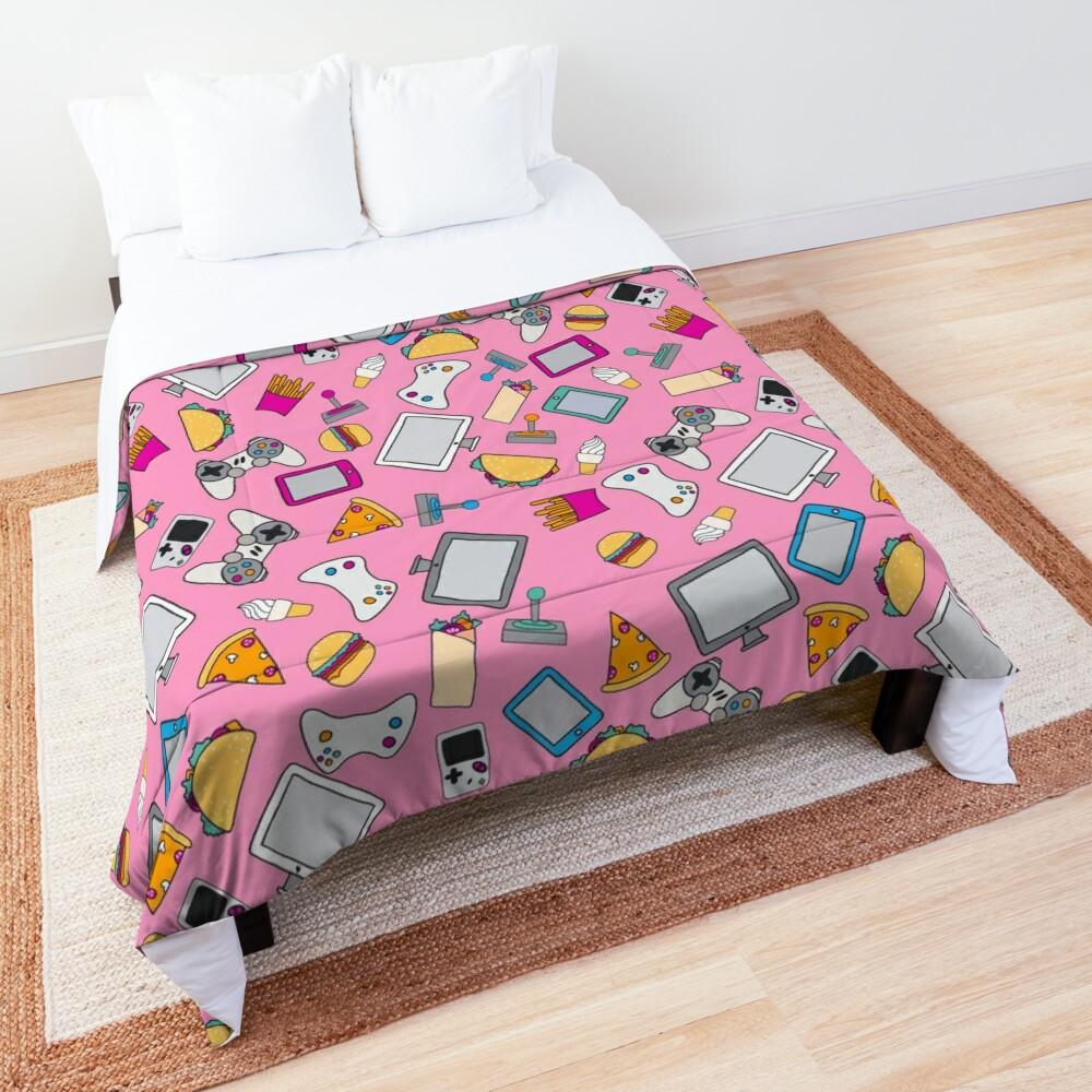 Gamer Girl Pink Fast Food Gaming Pattern Comforter
