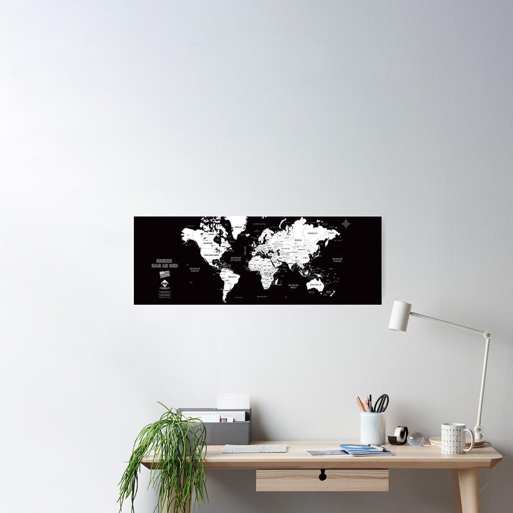 Poster «Carte du monde design en format long en breton»