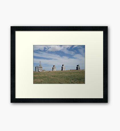 GRAIN ELEVATORS, RAPELGE, MT Framed Print