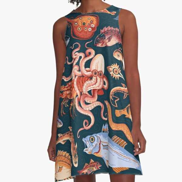 Roman Marine mosaic  A-Line Dress