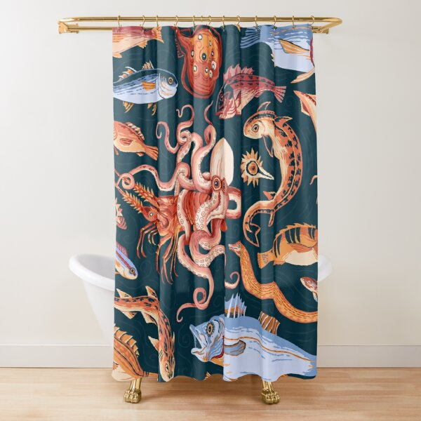 Pompeii Marine Mosaic  Shower Curtain