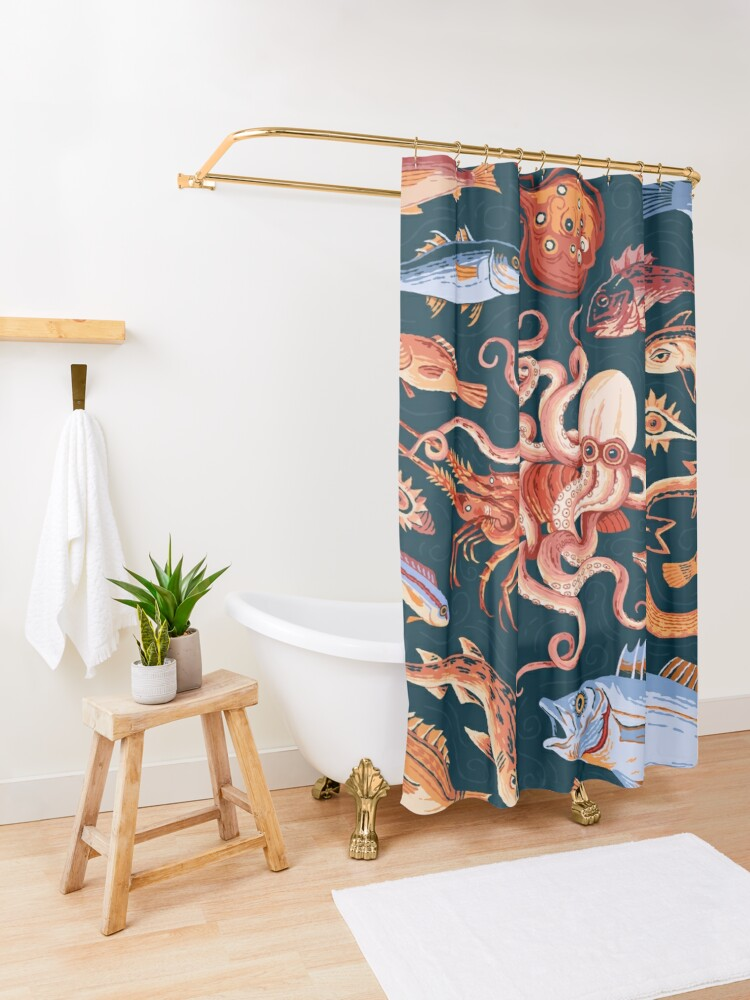 Alternate view of Roman Marine mosaic  Shower Curtain