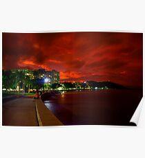 Esplanade beneath sunset Poster
