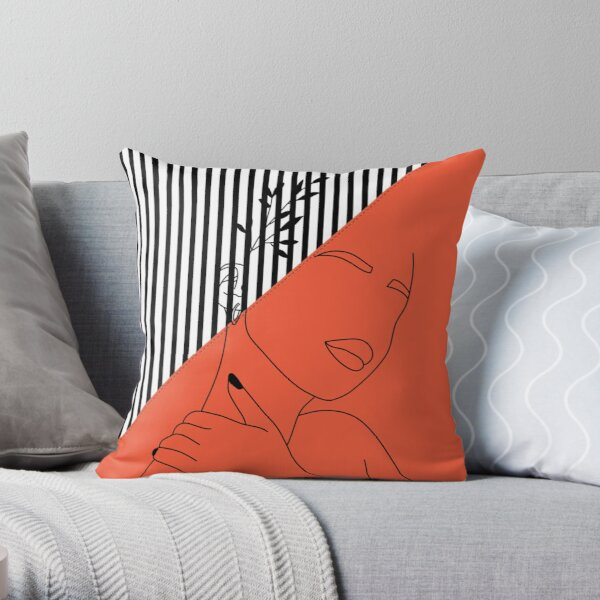 Oriental Abstract Lined Artwork Throw Pillow