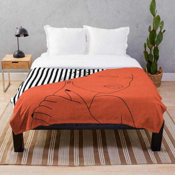Oriental Abstract Lined Artwork Throw Blanket