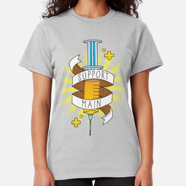 Support Main | FPS RPG Gamer Art | Doctor Syringe and Banner | Yellow Blue Classic T-Shirt