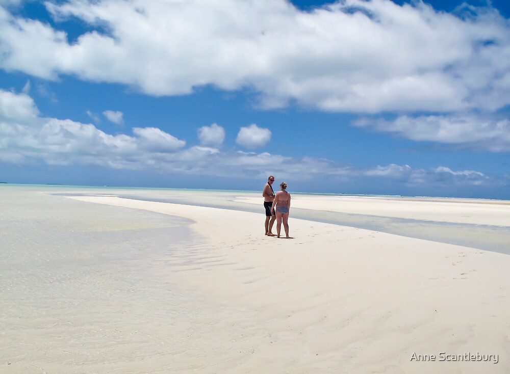 two people on white sands by Anne Scantlebury