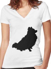 Pomeranian Silhouette Women's Fitted V-Neck T-Shirt