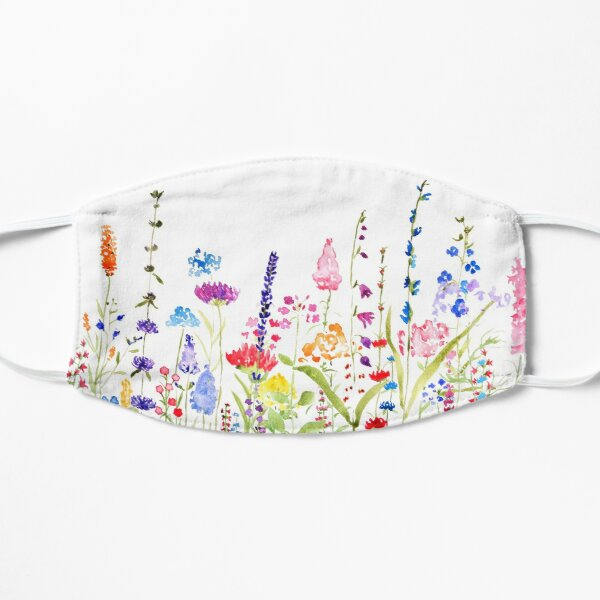 colorful wild flower field  Flat Mask
