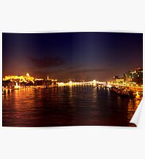 Castle Palace. The Chain Bridge. The Danube River in Budapest at night. Number 1 Poster