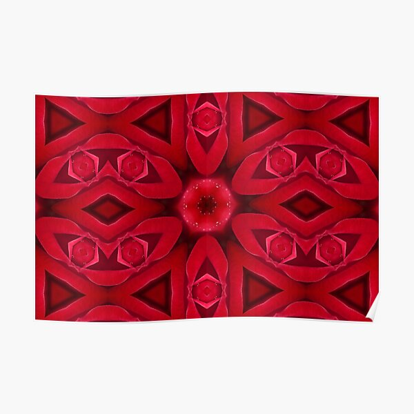 Kaleidoscope Red Red Rose Poster