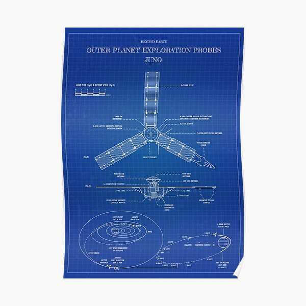 Juno: Beyond Earth. Outer Planet Exploration Probes (Blueprint) Poster