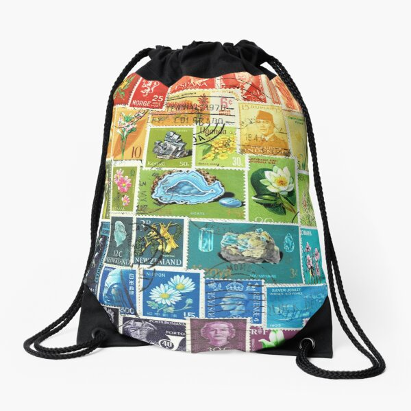 Rainbow with Flowers, Postage Stamp Collage Drawstring Bag