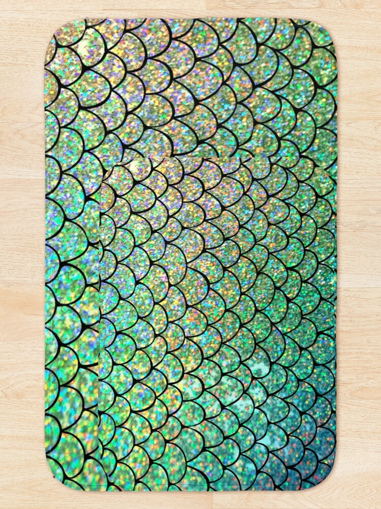 Alternate view of Colorful Glitter Mermaid Scales Bath Mat
