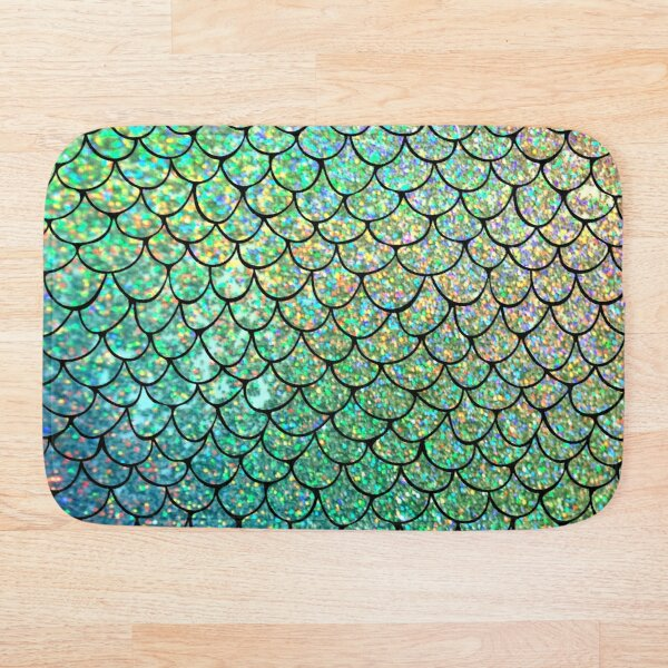Colorful Glitter Mermaid Scales Bath Mat