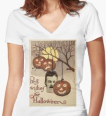 Best wishes (Vintage Halloween Card) Women's Fitted V-Neck T-Shirt