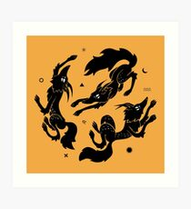 Dancing Wolves Art Print