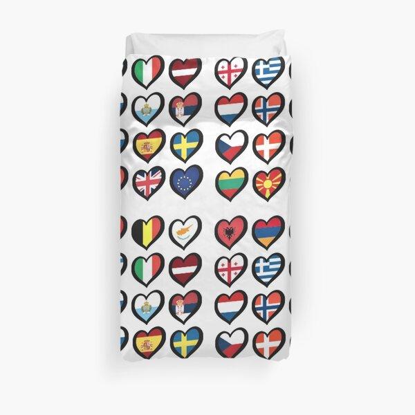 EBU Logo Eurovision Hearts  European Flags On Shirts Bags And Gadgets Duvet Cover