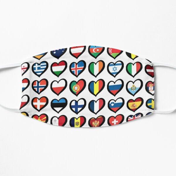 EBU Logo Eurovision Hearts  European Flags On Shirts Bags And Gadgets Flat Mask