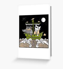 Outlaw Owl and Pirate Puss Greeting Card