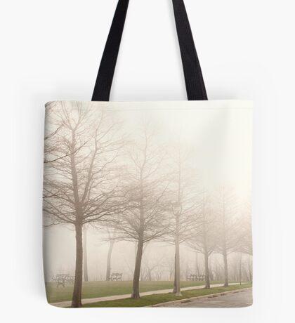 Foggy Sidewalk Scene Tote Bag
