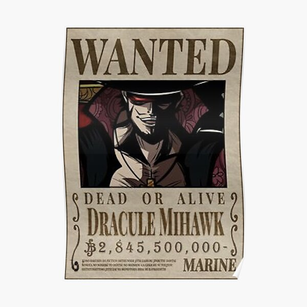 One piece Wanted - Dracule Mihawk Poster