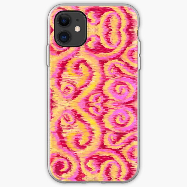 pink and golden ikat iPhone Soft Case
