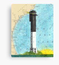 Sullivans Island Lighthouse SC Nautical Map Peek Canvas Print