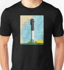 Sullivans Island Lighthouse SC Nautical Map Peek Unisex T-Shirt