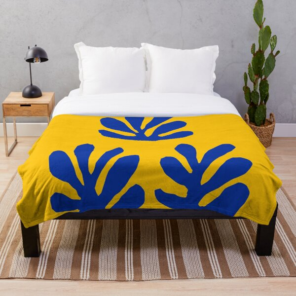 Matisse Leaves Yellow Blue Throw Blanket