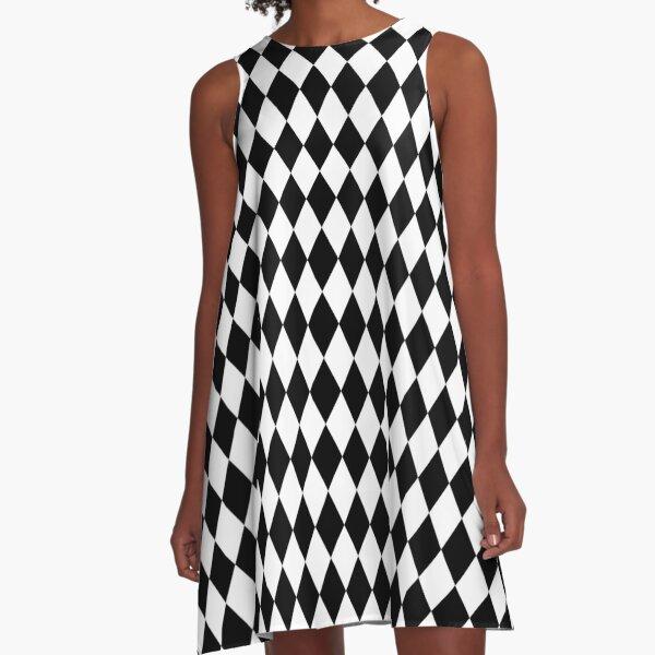 Black & White Diamond Pattern A-Line Dress