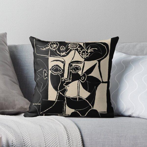 Tête de femme Picasso # 8 ligne noire Coussin