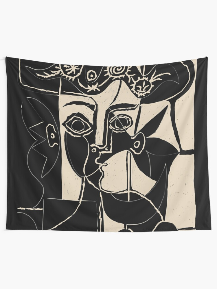 Alternate view of Picasso Woman's head #8 black line Tapestry