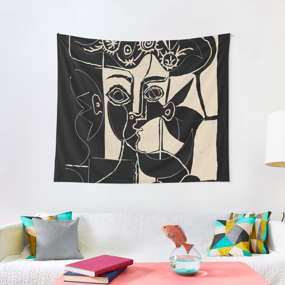 Picasso Woman's head #8 black line Tapestry