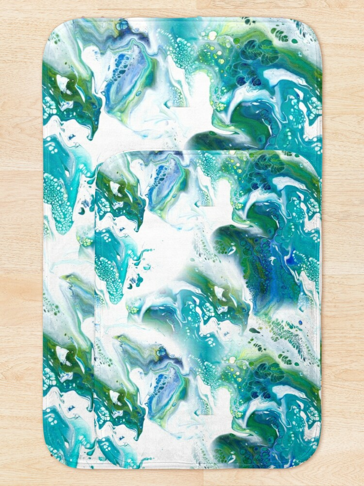 Alternate view of Blue, green, turquoise and white fluid Painting Pattern Bath Mat