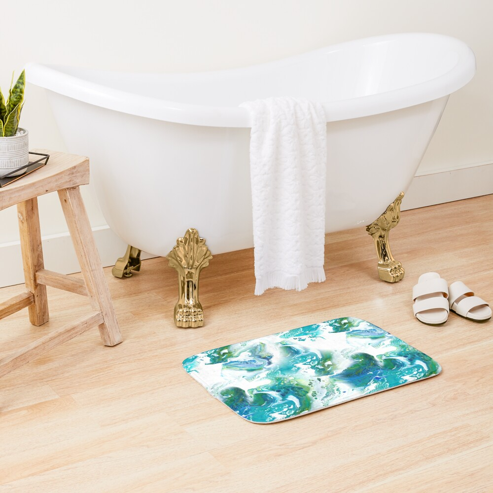 Blue, green, turquoise and white fluid Painting Pattern Bath Mat