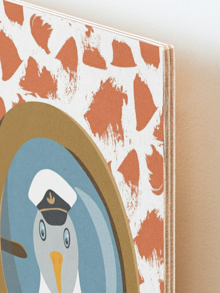Alternate view of Funny seagull captain behind bull's eye on ship Mounted Print