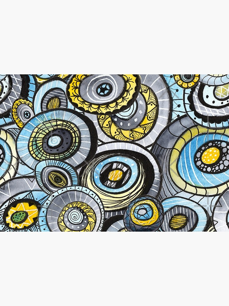 Zen circles I abstract round watercolor shapes with ink doodles by nobelbunt