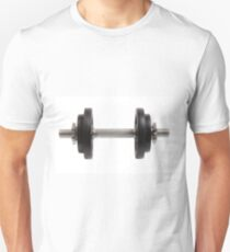 Dumbbell with two weights isolated as Cut T-Shirt