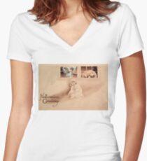 Wrong Shoulder... (Vintage Halloween Card) Women's Fitted V-Neck T-Shirt