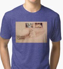 Wrong Shoulder... (Vintage Halloween Card) Tri-blend T-Shirt