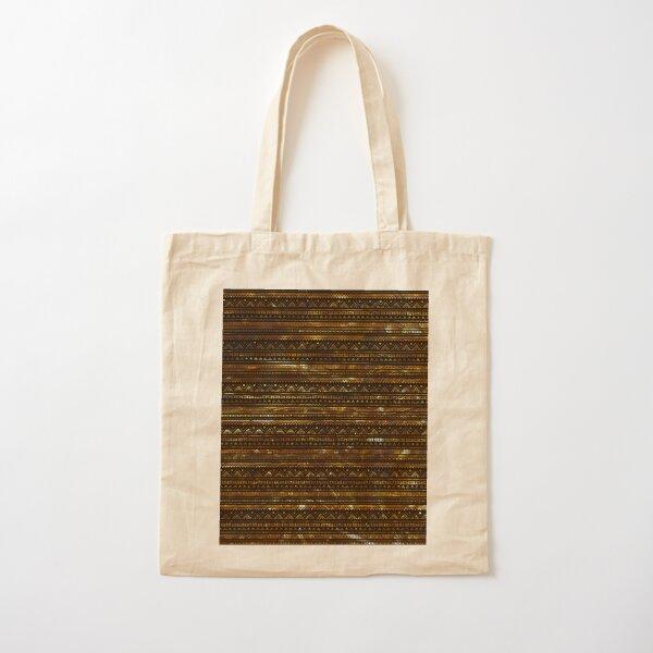 Aztec Black Tinsel Gold Cotton Tote Bag