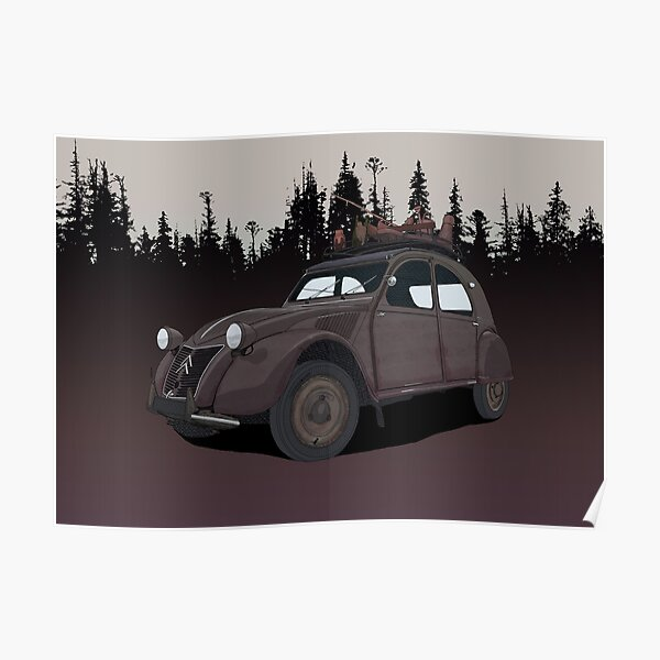 Vintage Citroen 2CV Poster