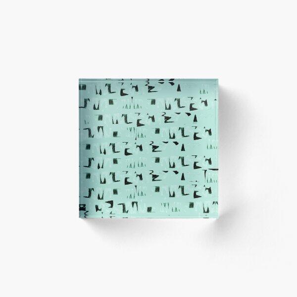 Primitive black and mint symbols Acrylic Block