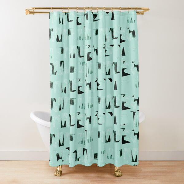 Primitive black and mint symbols Shower Curtain
