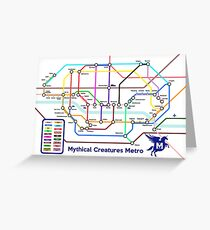 Epic Mythical Creatures Underground Map Greeting Card