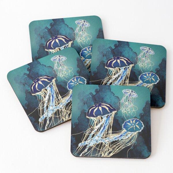 Metallic Jellyfish III Coasters (Set of 4)