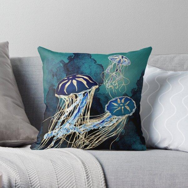 Metallic Jellyfish III Throw Pillow