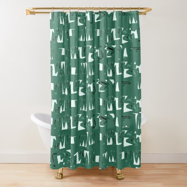 Primitive symbols dark green  Shower Curtain