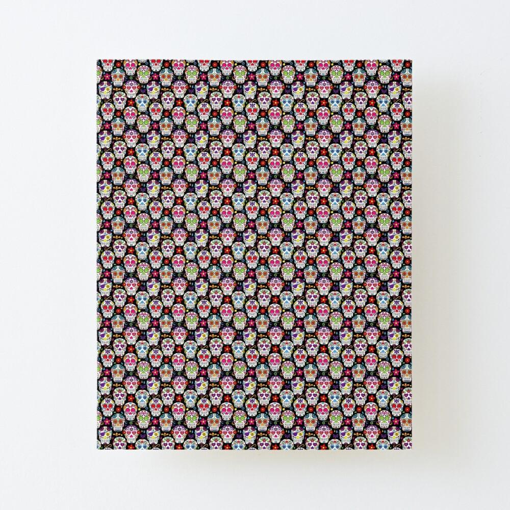 - Brightly Colored Sugar Skulls On A Black Background